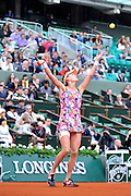 Agnieszka Radwanska from Poland competes in women's single first round while Day First during The French Open 2014 at Roland Garros Tennis Club in Paris, France.<br /> <br /> France, Paris, May 25, 2014<br /> <br /> Picture also available in RAW (NEF) or TIFF format on special request.<br /> <br /> For editorial use only. Any commercial or promotional use requires permission.<br /> <br /> Mandatory credit:<br /> Photo by &copy; Adam Nurkiewicz / Mediasport
