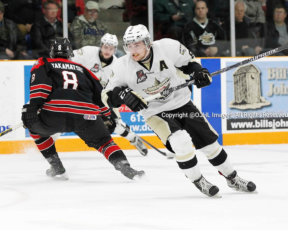 TRENTON, - Apr 17, 2016 -  Ontario Junior Hockey League game action between the Trenton Golden Hawks and the Georgetown Raiders. Game 3 of the Buckland Cup Championship Series, Mitch Emerson #9 of the Trenton Golden Hawks during the first period at the Duncan Memorial Gardens, ON. (Photo by Amy Deroche / OJHL Images)