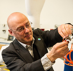Pictured: Patrick Harvie<br /> <br /> As part of the final few days of the election campain Greens Co-convenors Patrick Harvieand Maggie Chapman along with local candidate Mark Ruskell met a wind turbine class at Fife College. Students are studying City and Guilds qualifications in wind turbine technology as the colleage strive to become a centre of excellence in wind turbine technology.<br /> <br /> Ger Harley | EEm 29 April 2016