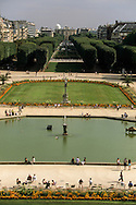 France. Paris. elevated view. Luxembourg garden and park  view from senat roof top