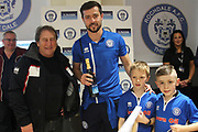 Man of the Match Joe Rafferty during the EFL Sky Bet League 1 match between Rochdale and Gillingham at Spotland, Rochdale, England on 23 September 2017. Photo by Daniel Youngs.