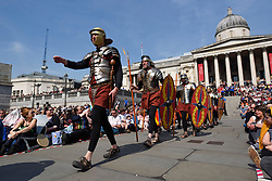 "© Licensed to London News Pictures. 19/04/2019. LONDON, UK.  Members of The Wintershall Players present their traditional ""The Passion of Jesus"" play in Trafalgar Square on Good Friday in front of huge crowds.  The play brings to life the events leading to the crucifixion of Jesus Christ, played by James Burke-Dunsmore, and his subsequent resurrection.  Photo credit: Stephen Chung/LNP"