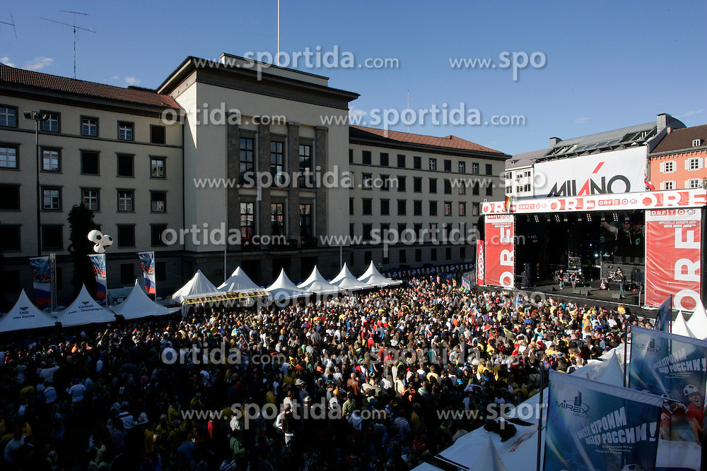 Fanzone in town Innsbruck before the UEFA EURO 2008 Group D soccer match between Sweden and Russia at Stadion Tivoli NEU, on June 18,2008, in Innsbruck, Austria. Russia won 2:0. (Photo by Vid Ponikvar / Sportal Images)