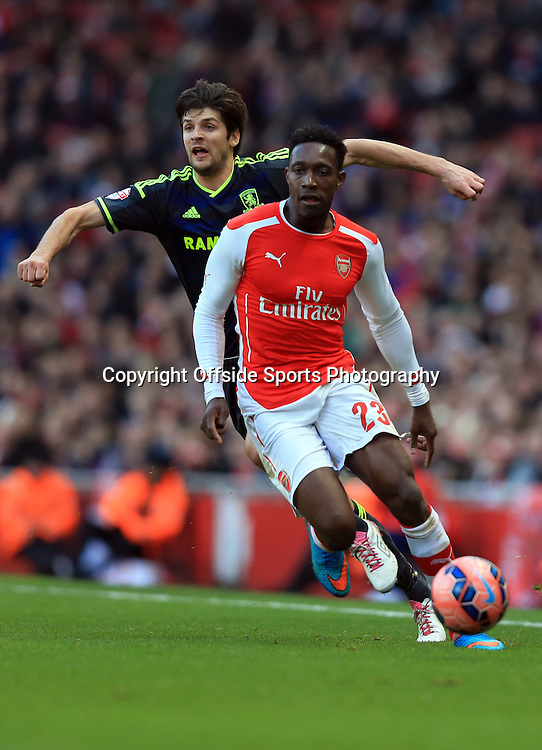 15 February 2015 - The FA Cup Fifth Round - Arsenal v Middlesbrough - Danny Welbeck of Arsenal in action with George Friend of Middlesbrough - Photo: Marc Atkins / Offside.