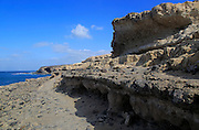Wave cut notches raised beach geological rock formations at Ajuy, Fuerteventura, Canary Islands, Spain
