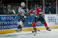 KELOWNA, CANADA - NOVEMBER 18: Nick Merkley #10 of the Kelowna Rockets stick checks Radovan Bondra #41 of the Vancouver Giants on November 18, 2016 at Prospera Place in Kelowna, British Columbia, Canada.  (Photo by Marissa Baecker/Shoot the Breeze)  *** Local Caption ***