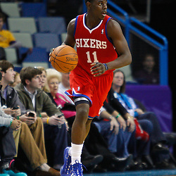 January 3, 2011; New Orleans, LA, USA; Philadelphia 76ers point guard Jrue Holiday (11) against the New Orleans Hornets during the fourth quarter at the New Orleans Arena. The Hornets defeated the 76ers 84-77.  Mandatory Credit: Derick E. Hingle
