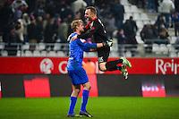 Joie Jonas LOSSL / Lars JACOBSEN - 07.12.2014 - Reims / Guingamp - 17eme journee de Ligue 1 -<br />Photo : Dave Winter / Icon Sport