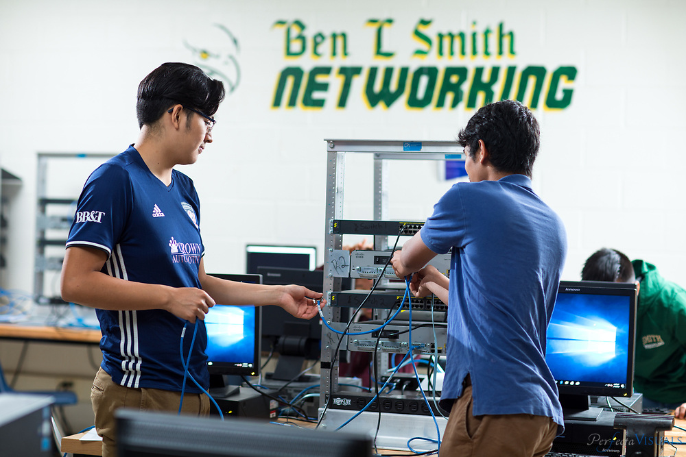 Students work on a computer networking project in William Reece 's Honors Networking 2 class at Ben L. Smith High School.<br /> <br /> Photographed, Thursday, May 10, 2018, in Greensboro, N.C. JERRY WOLFORD and SCOTT MUTHERSBAUGH / Perfecta Visuals