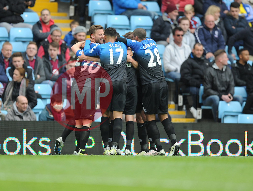 Steve Cook of Bournemouth celebrates with team after scoring to make it 1-0 - Mandatory by-line: Alex James/JMP - 09/04/2016 - FOOTBALL - Villa Park - Birmingham, England - Aston Villa v AFC Bournemouth - Barclays Premier League
