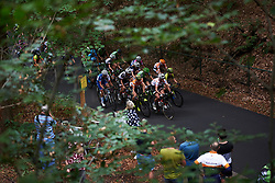Ellen van Dijk (NED) is flanked by Mitchelton Scott riders, Amanda Spratt (AUS) and Annemiek van Vleuten (NED) on the climb at Boels Ladies Tour 2018 - Stage 2, a 137.9km road race in Nijmegen, Netherlands on August 29, 2018. Photo by Sean Robinson/velofocus.com