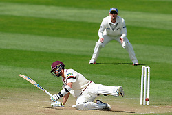 Somerset's Tim Groenewald looses his balance after a yorker from New Zealand's Ben Wheeler Photo mandatory by-line: Harry Trump/JMP - Mobile: 07966 386802 - 11/05/15 - SPORT - CRICKET - Somerset v New Zealand - Day 4 - The County Ground, Taunton, England.