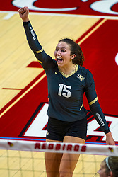 BLOOMINGTON, IL - September 14: Kristina Fisher during a college Women's volleyball match between the ISU Redbirds and the University of Central Florida (UCF) Knights on September 14 2019 at Illinois State University in Normal, IL. (Photo by Alan Look)