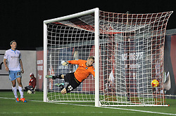 Bristol City's Aaron Wilbraham scores a goal past Coventry City goalkeeper Ryan Allsop - Photo mandatory by-line: Dougie Allward/JMP - Mobile: 07966 386802 - 10/12/2014 - SPORT - Football - Bristol - Ashton Gate Stadium - Bristol City v Coventry City - Johnstone's Paint Trophy