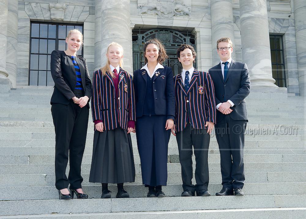 Team-portrait at the NZ Schools Debating Championships, 2012.
