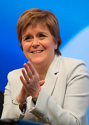 Edinburgh, Scotland, UK. 27 April, 2019. SNP ( Scottish National Party) Spring Conference takes place at the EICC ( Edinburgh International Conference Centre) in Edinburgh. Pictured; First Minister Nicola Sturgeon