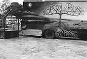 'Skool bus' art, at Glastonbury, 1989.