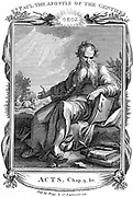 St Paul the Apostle who took Christian message to the Gentiles. In background is his conversion on road to Damascus.  At his feet are books and writing materials representing his Epistles. Copperplate engraving early 19th century.