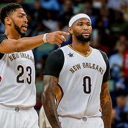 Mar 31, 2017; New Orleans, LA, USA; New Orleans Pelicans forward Anthony Davis (23) and New Orleans Pelicans forward DeMarcus Cousins (0) during the second quarter of a game against the Sacramento Kings at the Smoothie King Center. Mandatory Credit: Derick E. Hingle-USA TODAY Sports