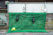 street side trash cover net with plastic crow scaring dolls Japan Yokosuka