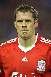 LIVERPOOL, ENGLAND - Wednesday, September 16, 2009: Liverpool's Jamie Carragher before the UEFA Champions League Group E match against Debreceni at Anfield. (Photo by David Rawcliffe/Propaganda)