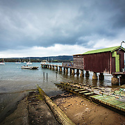 Waterfront, inclement weather keeps the boating club locked up, Margate, Tasmania, Australia