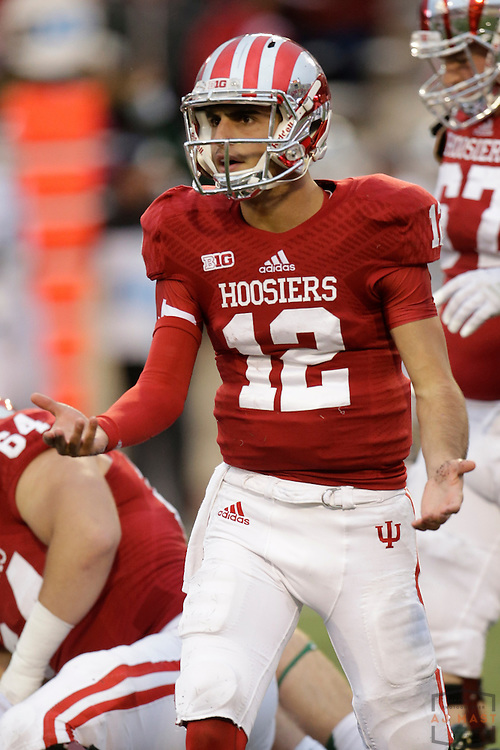 18 October 2014: Indiana Hoosiers quarterback Zander Diamont (12) as the Indiana Hoosiers played the Michigan State Spartans in an NCAA college football game in Bloomington, Ind.
