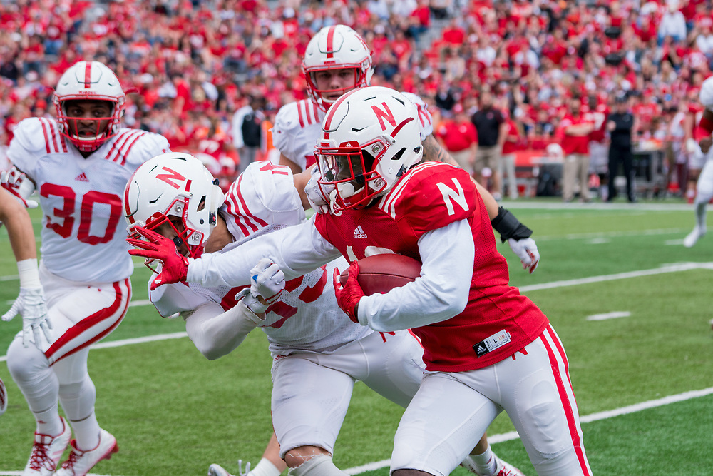 Nebraska Cornhuskers wide receiver JD Spielman #10 during Nebraska's annual Red/White Spring Game at Memorial Stadium on April 15, 2017. Photo by Paul Bellinger, Hail Varsity