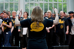 © under license to London News Pictures. 25/06/12. London, UK. Performers Choir with no name at the Royal Opera House for the Streetwise Opera. Streetwise Opera is co-ordinating a one-night special event tonight at the Royal Opera House to showcase the skills of 300  performers from around the U.K who have experienced homelessness. ..ALEX CHRISTOFIDES/LNP