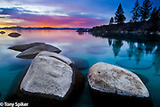 """Secret Harbor Sunset 1"" - The sun sets at Secret Beach on the Eastern Shore of Lake Tahoe"