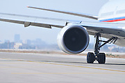 Israel, Ben-Gurion international Airport Rossiya passenger jet ready for takeoff. Close up of the jet engine