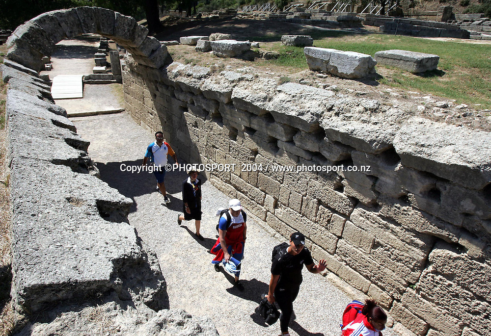 New Zealand shot put athlete Valerie Adams walks through the ancient ruins of Olympia after finaishing 9th after the Womens Shot Put final, Ancient Stadium, Olympia, Wednesday 18 August 2004. <br />PHOTO:Andrew Cornaga/PHOTOSPORT