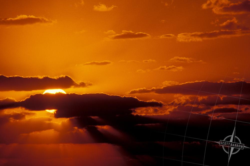 Fair Weather, Cumulus Clouds at Sunrise.