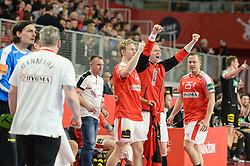 Players od Denmark celebrates during handball match between National teams of Germany and Denmark on Day 4 in Main Round of Men's EHF EURO 2018, on January 21, 2018 in Arena Varazdin, Varazdin, Croatia. Photo by Mario Horvat / Sportida