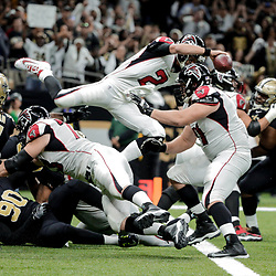 Dec 24, 2017; New Orleans, LA, USA; Atlanta Falcons quarterback Matt Ryan (2) jumps to avoid a safety against the New Orleans Saints during the fourth quarter at the Mercedes-Benz Superdome. The Saints defeated the Falcons 23-13. Mandatory Credit: Derick E. Hingle-USA TODAY Sports