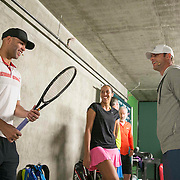 March 7, 2015, Indian Wells, California:<br /> James Blake, Madison Keys, and Andy Roddick talk below the stadium before the McEnroe Challenge for Charity presented by Masimo in Stadium 2 at the Indian Wells Tennis Garden in Indian Wells, California Saturday, March 7, 2015.<br /> (Photo by Billie Weiss/BNP Paribas Open)