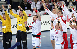 Team of Poland (Goalkeeper of Poland Slawomir Szmal, Goalkeeper of Poland Adam Malcher, Bartosz Jurecki (13) of Poland, Tomasz Tluczynski (19) of Poland)  celebrates after winning the 21st Men's World Handball Championship 2009 Bronze medal match between National teams of Poland and Denmark, on February 1, 2009, in Arena Zagreb, Zagreb, Croatia.  Won of Poland 31:23. (Photo by Vid Ponikvar / Sportida)