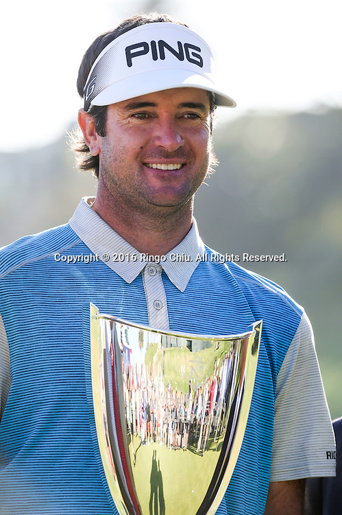 Bubba Watson celebrates with his trophy after winning on the final round of the PGA Tour Northern Trust Open golf tournament at Riviera Country Club on February 21, 2016, in Los Angeles. Bubba Watson won the Northern Trust Open.(Photo by Ringo Chiu/PHOTOFORMULA.com)<br /> <br /> Usage Notes: This content is intended for editorial use only. For other uses, additional clearances may be required.