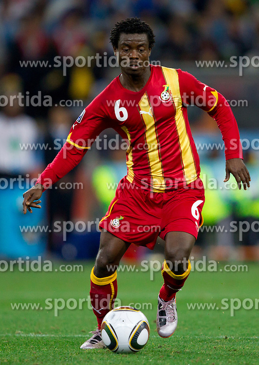 Anthony Annan of Ghana during the  2010 FIFA World Cup South Africa Quarter Finals football match between Uruguay and Ghana on July 02, 2010 at Soccer City Stadium in Sowetto, suburb of Johannesburg. Uruguay defeated Ghana after penalty shots. (Photo by Vid Ponikvar / Sportida)