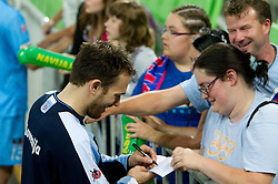 Jure Natek with fans after winning the handball match between National teams of Slovenia and Ukraine of 2012 EHF Men's European Championship Play-off, on June 12, 2011 in  Arena Stozice, Ljubljana, Slovenia. Slovenia defeated Ukraine 43-32 and qualified to EURO Serbia 2012 (Photo By Vid Ponikvar / Sportida.com)