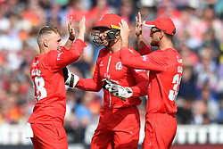 Lancashire Lightning's Matthew Parkinson celebrates taking the wicket of Worcestershire Rapid's Ross Whiteley during the Vitality T20 Blast Semi Final match on Finals Day at Edgbaston, Birmingham.