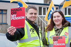 PCS Education Group Secretary Robbie Faulds with Northern Regions Regional Organiser Julie Young.Members PCS union hold a rally outside Nick Cleggs Constituency Office, to raise awareness of the fact that this month will see the first  increased contributions coming out of their salaries to pay for the changes to public sector pensions. It is the first in a series of hands off our pensions red card protest outside key ministerial constituencies over the Easter recess...http://www.pauldaviddrabble.co.uk.14 April 2012 .Image © Paul David Drabble
