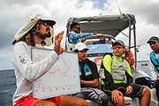 World Sailing Emerging Nations Program - Boca Chica Sailing Club, Santo Domingo 08/19/2017 - DAY 2 - Martin Manrique coach for Curacao explains different aspects of the wind effects on the course to the participants