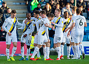 Oxford United forward Tariqe Fosu-Henry (11) scores a goal (0-1) and celebrates with team mates during the EFL Sky Bet League 1 match between Gillingham and Oxford United at the MEMS Priestfield Stadium, Gillingham, England on 18 January 2020.