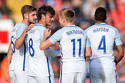 John Swift of England U21 celebrates scoring a goal - Rogan Thomson/JMP - 11/10/2016 - FOOTBALL - Bescot Stadium - Walsall, England - England U21 v Bosnia and Herzegovina - UEFA European Under 21 Championship Qualifying.