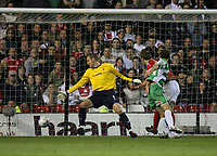 Photo: Rich Eaton.<br /> <br /> Nottingham Forest v Yeovil Town. Coca Cola League 1. Play off Semi Final 2nd Leg. 18/05/2007. Yeovils Marcus Stewart  #29 (right) heads to score late in the second half to make the score 3-1 on the night, 3-3 agg