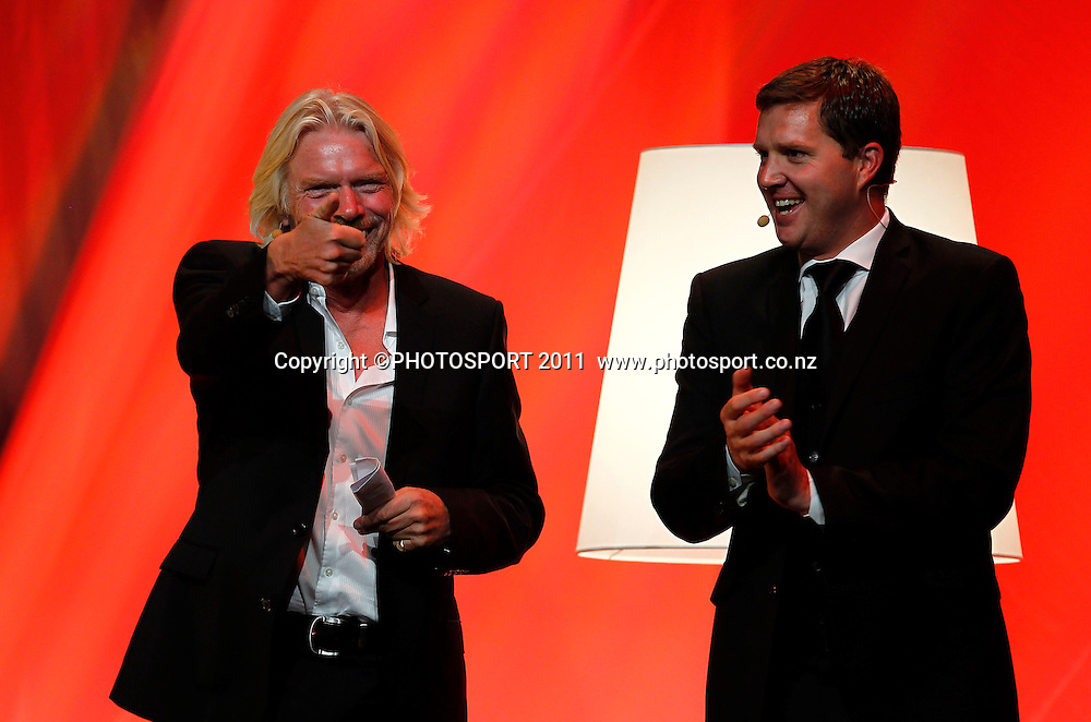 Sir Richard Branson and interviewer Corin Dann during the Duco Event, Sir Richard Branson Live in Auckland, Viaduct Events Centre,  Auckland, New Zealand. Thursday 20 October 2011. Photo: Simon Watts / photosport.co.nz