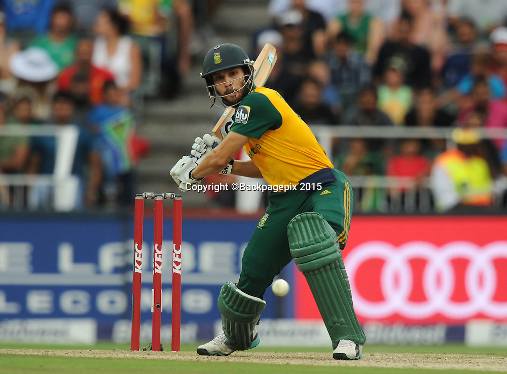 Farhaan Behardien of South Africa during the 2015 KFC T20 International Series match between South Africa and West Indies at Wanderers, Johannesburg on the 11 January 2015  ©Muzi Ntombela/BackpagePix