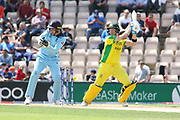 Steve Smith cuts for 4 during the ICC Cricket World Cup 2019 warm up match between England and Australia at the Ageas Bowl, Southampton, United Kingdom on 25 May 2019.