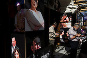 The faces of theatre-goers mix with the actors at the entrance of the Vaudeville in London's Strand where Arthur Miller's Broken Glass is playing. The actors' faces of the production's starring roles  are seen in their characters during the Miller's play. Bob Hiskins, Tara FitzGerald and Antony Sher all share the limelight in this story focusing on a couple in New York City in 1938, the same time of Kristallnacht, in Nazi Germany. The play's title is derived from Kristallnacht, which is also known as the Night of Broken Glass.